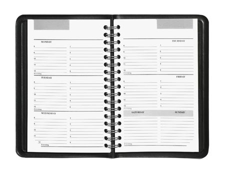 Wekelijkse planner blijkt uur schema geïsoleerd op wit Stockfoto