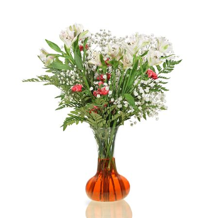 Carnation, lily, babys breath flower bouquet isolated on white  photo