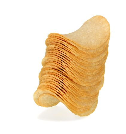 Stack of potato chips on a white background