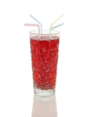 Beverage with straws on a white background Banco de Imagens