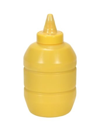 Yellow mustard container isolated on a white background Imagens