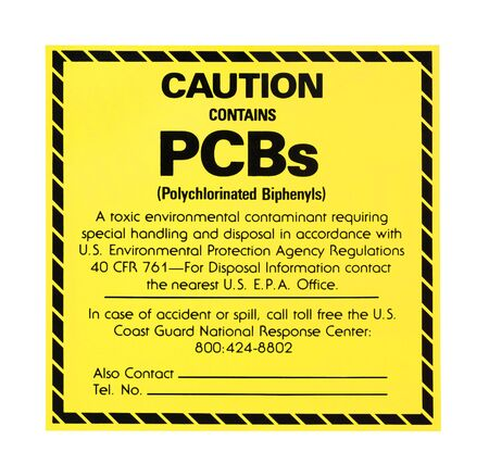 PCB warning label isolated on a white background Stock Photo