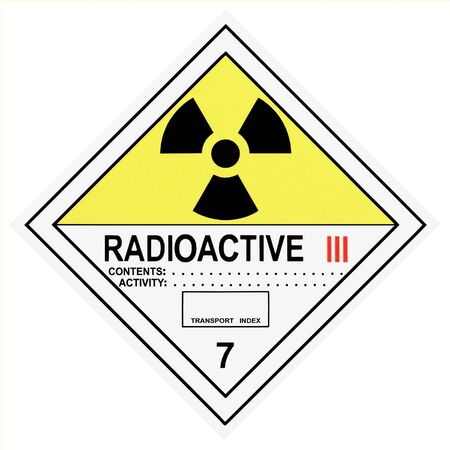 United States Department of Transportation Radioactive warning label isolated on white Stock Photo - 4588945