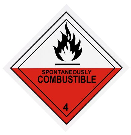 United States Department of Transportation spontaneously combustible warning label isolated on white Stock Photo - 4588943