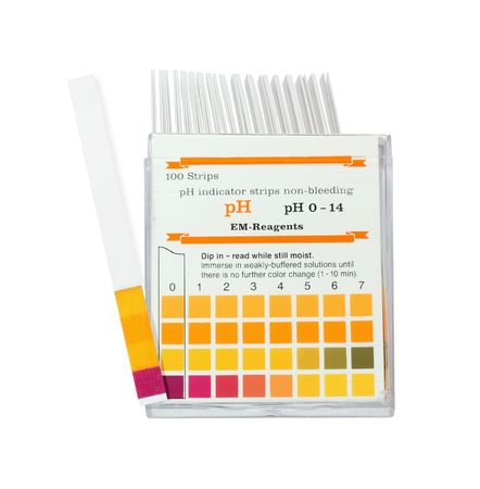 pH color indicator test strips on a white background  Stock Photo