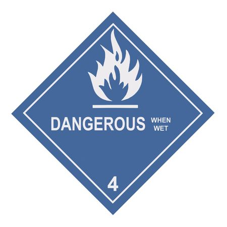 United States Department of Transportation dangerous when wet warning label isolated on white Stock Photo - 4620710