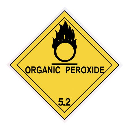 United States Department of Transportation organic peroxide warning label isolaed on white Stock Photo - 4620709