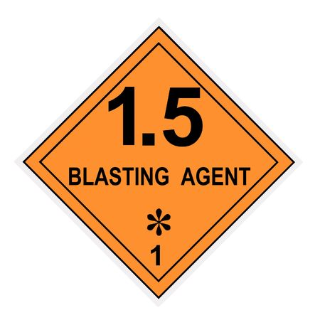 United States Department of Transportation blasting agent warning label isolated on white Stock Photo - 4620708