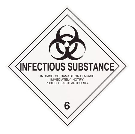 United States Department of Transportation infectious substance warning label isolated on white
