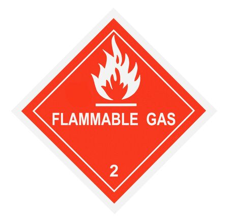flammable: United States Department of Transportation flammable gas warning label isolated on white Stock Photo
