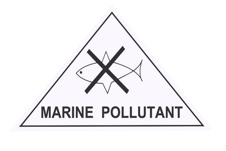 pollutant: United States Department of Transportation marine pollutant warning label isolated on white