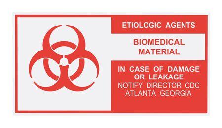 United States Department of Transportation etiologic agent warning label isolated on white Stock Photo - 4656688