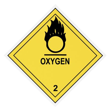 United States Department of Transportation oxygen warning label isolated on white Stock Photo - 4656672