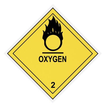United States Department of Transportation oxygen warning label isolated on white Stock Photo - 4656672