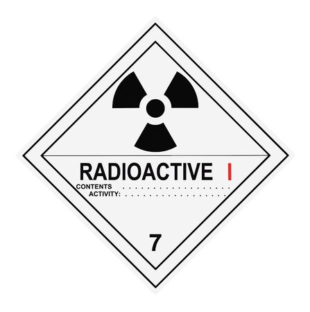 material: United States Department of Transportation radioactive warning label islolated on white
