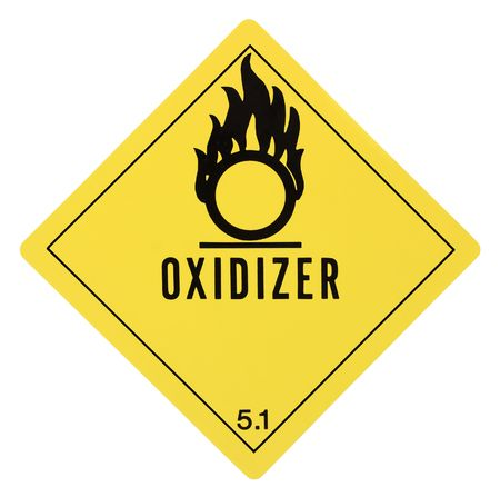 United States Department of Transportation oxidizer warning label isolated on white Stock Photo - 4656700