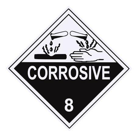 United States Department of Transportation corrosive warning label isolated on white