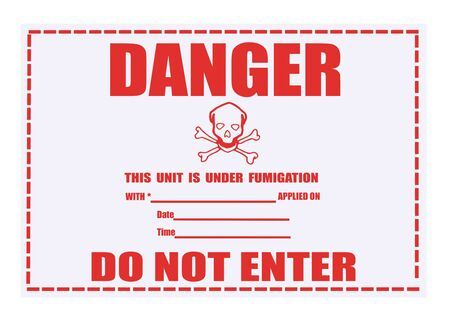United States Department of Transportation danger fumigation warning label isolated on white Stock Photo - 4692143