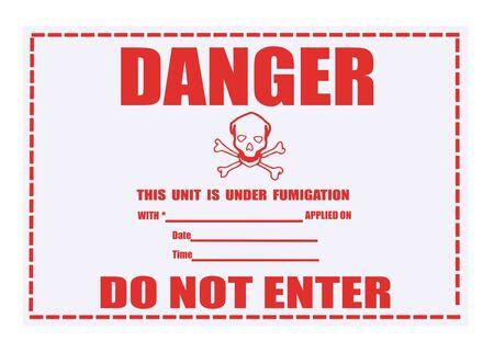 United States Department of Transportation danger fumigation warning label isolated on white Stock Photo - 4692143