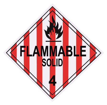 United States Department of Transportation flammable solid warning placard isolated on white Stock Photo - 4692144