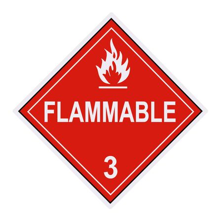 material: United States Department of Transportation flammable  warning label isolated on white