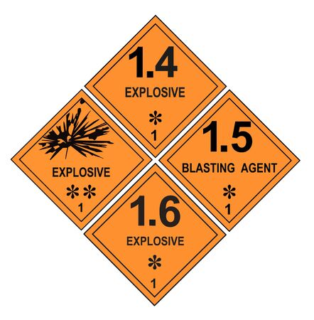United States Department of Transportation class 1 explosives warning labels isolated on white Stock Photo - 4743607
