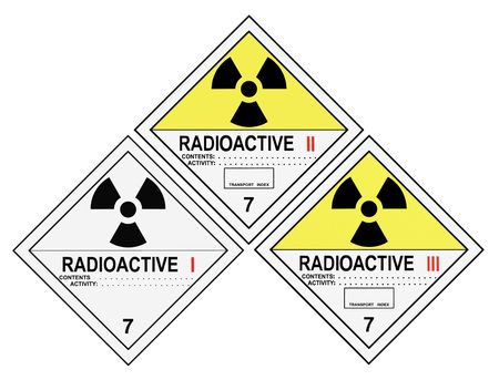 United States Department of Transportation class 7 radioactive warning labels isolated on white Stock Photo - 4785738