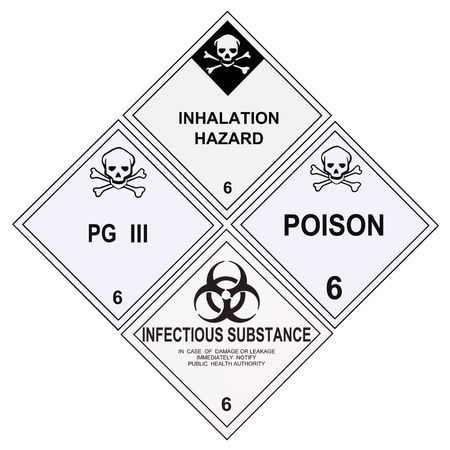United States Department of Transportation class 6 warning labels isolated on white Stock Photo - 4785744