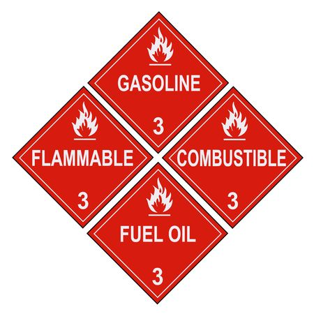 combustible: United States Department of Transportation flammable and combustible liquids warning placards isolated on white