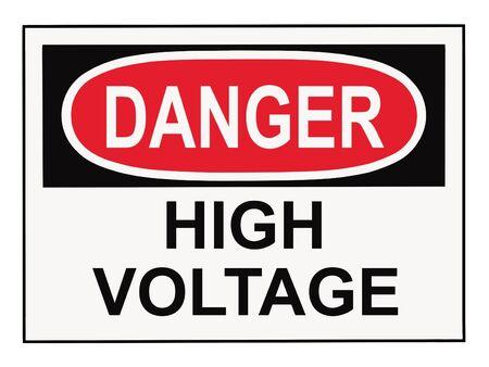 Danger high voltage OSHA warning sign islolated on white Stock Photo