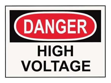 Danger high voltage OSHA warning sign islolated on white Stok Fotoğraf