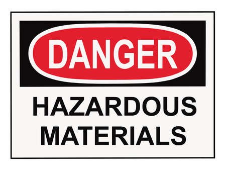 danger hazardous materials warning sign isolated on white