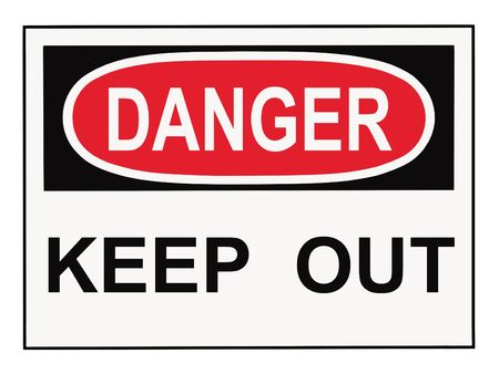 keep out: OSHA danger keep out warning sign isolated on white Stock Photo