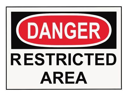 area restringida: OSHA peligro las se�ales de advertencia de zona restringida aislados en blanco