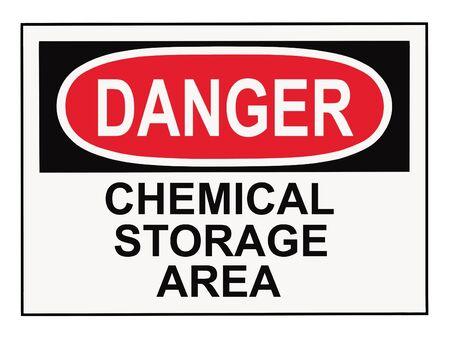 OSHA danger chemical storage area warning sign isolated on white