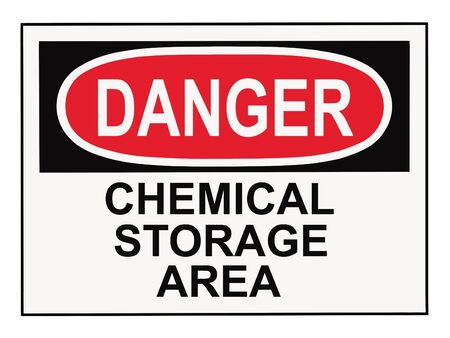 OSHA danger chemical storage area warning sign isolated on white