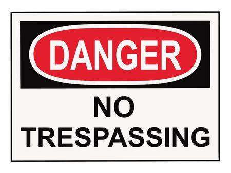 no trespassing: OSHA peligro prohibido el paso se�al de advertencia aislados en blanco Foto de archivo