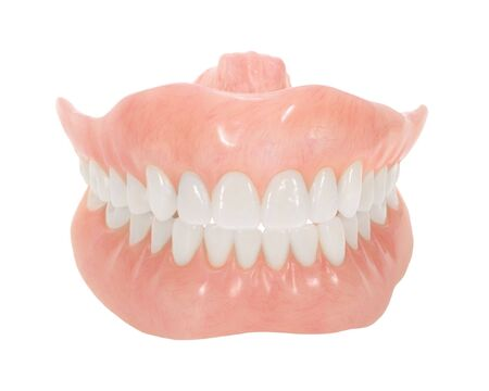 Set of dentures with bright teeth isolated on white