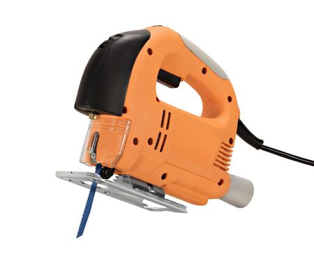 jig: Electric jig saw power tool isolated on white Stock Photo