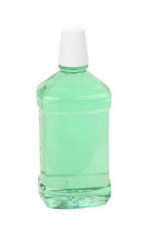 mouthwash: Bottle of mint green mouthwash isolated on white