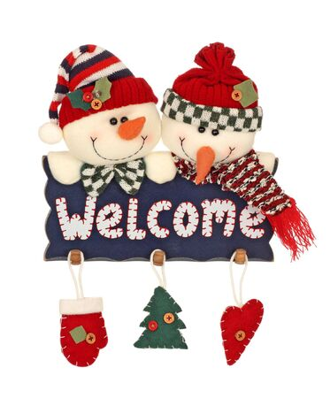 holidays: Christmas holiday snowmen with welcome sign isolated on white