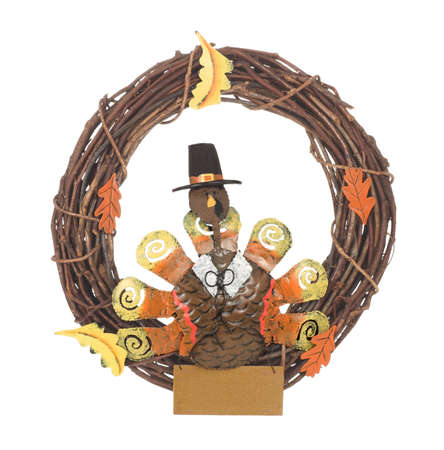 Thanksgiving turkey wreath with sign to add message isolated on white Stock Photo - 5639788