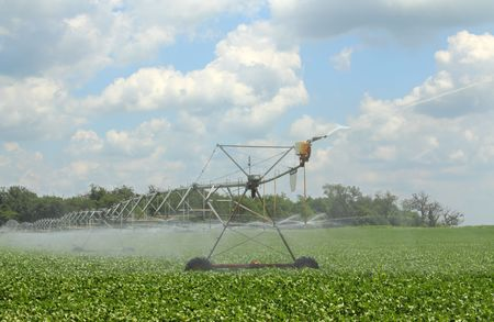 Irrigating a green soybean field against a blue sky with clouds photo