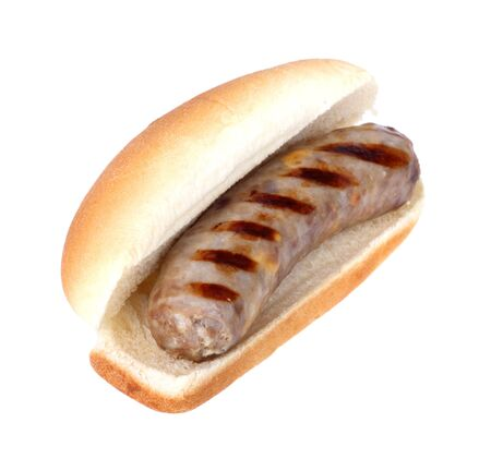 Grilled bratwurst on a bun isolated on white Zdjęcie Seryjne