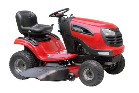 maquinaria: Nuevo tractor de c�sped de rojo y negro aislado en blanco  Foto de archivo