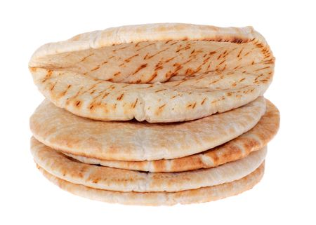 Stack of pita pockets isolated on white Banco de Imagens