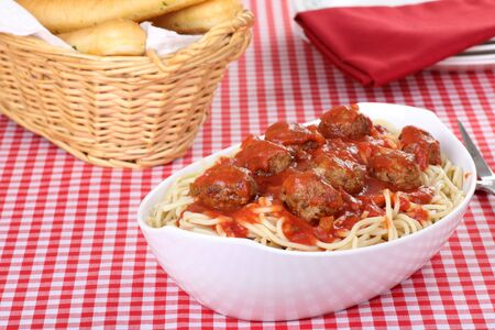 Spaghetti and meatball meal with garlic breadstick Stock Photo - 7772321