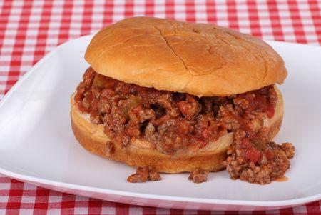 Sloppy joe made with salsa on a bun
