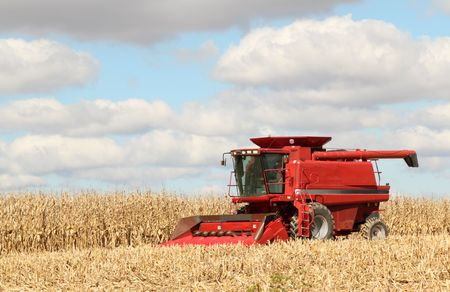 machinery: Red farm combine harvesting corn against a blue sky with clouds