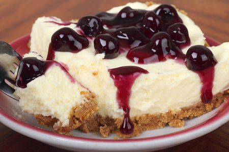 Closeup on a piece of blueberry cheesecake
